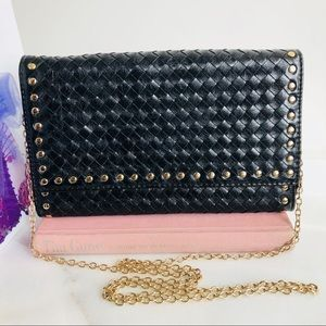 Mystique Black Woven Leather Clutch / Sling Bag